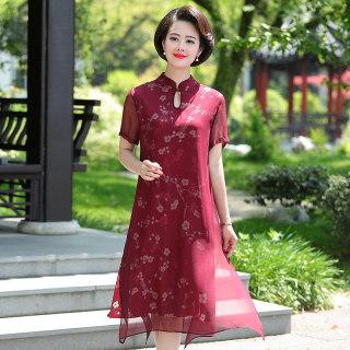2019旗袍中国复古风连衣裙夏季新款中年女装气质过膝长裙子