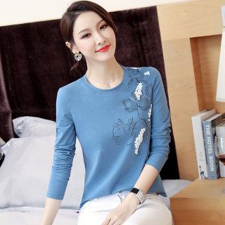 新款女装2019秋装新款女装韩版修身印花T恤女圆领白色显瘦体恤长袖打底衫女上衣