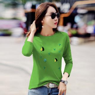 【多款多色 百搭显瘦】秋装新款女装韩版牛油果绿修身圆领长袖体恤