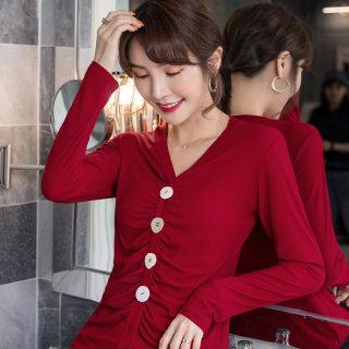 新款女装T恤女长袖2019秋装新款韩版百搭单排扣套头褶皱上衣纯色V领打底衫