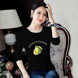 新款2019秋装新款女装韩版牛油果印花T恤女圆领显瘦体恤长袖打底衫女上衣
