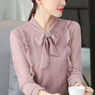 新款 2019秋装新款女装韩版大码打底衫系带体恤上衣修身显瘦长袖t恤衫女