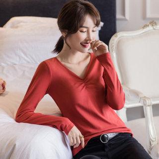 新款V领长袖T恤女2019秋装新款韩版修身纯色褶皱打底衫chic港味上衣潮