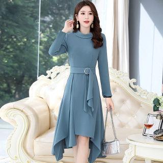 新款长袖连衣裙过膝长款秋装2019年新款韩版女装秋季气质显瘦长裙春秋