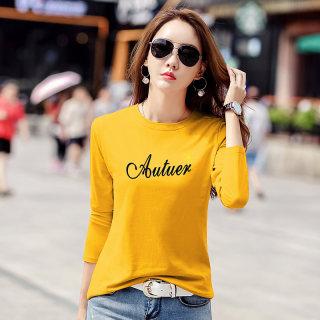 新款2019秋装新款女装韩版字母圆领T恤女修身显瘦体恤长袖打底衫女印花上衣