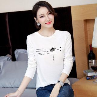 新款2019秋装新款女装韩版修身字母印花T恤女圆领显瘦体恤长袖打底衫女上衣