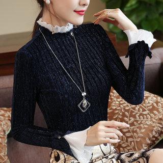 新款2019秋装新款女装韩版喇叭袖体恤 立领T恤女修身显瘦上衣长袖打底衫