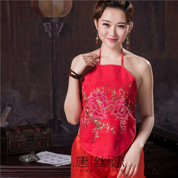 女士棉肚兜护胃肚保暖睡衣套装内衣情性感古典 红色 单牡丹 单件肚兜