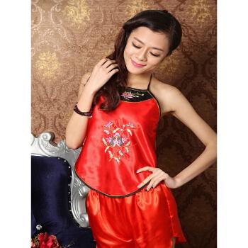 肚兜睡衣内衣女士肚兜大码民族风中国风肚兜性感男女套装 石榴玫红 套装--配平角裤