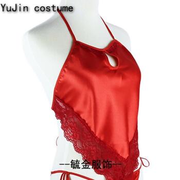 肚兜 女士性感蕾丝镂空红肚兜 女 睡衣套装古典肚兜式内衣 红色 肚兜+平角裤