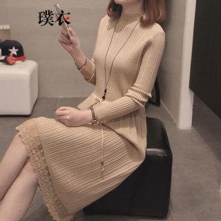 秋季新款 女韩版加厚半高领修身长款打底针织连衣裙
