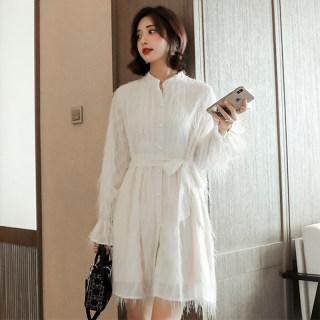 秋装新款女装2019秋新款韩版气质雪纺长袖打底衬衫裙喇叭袖长裙连衣裙女