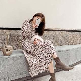 秋装新款女装碎花连衣裙2019新款秋季长袖高腰裙子女学生韩版气质雪纺裙