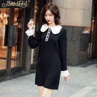 秋装新款女装2019新款韩版休闲气质淑女长袖黑色复古风显瘦裙子