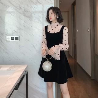 秋装新款女装 秋季韩版慵懒风通勤纯色百搭修身两件套连衣裙女潮