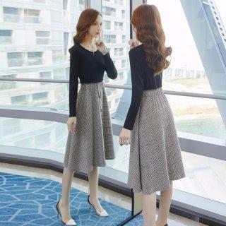 秋装新款女装2019秋新款女款韩版时尚千鸟格拼接收腰显瘦连衣裙
