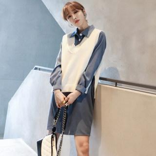 秋装新款女装2018新款女装秋装韩版显瘦两件套开衩连衣裙