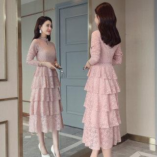 秋装新款女装2019春秋装新款显瘦长裙内搭打底蕾丝连衣裙韩版时尚修身长袖蛋糕裙女