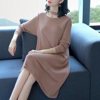 秋装新款女装连衣裙女秋装2019款韩版宽松中长款冰丝长款过膝裙春秋外穿针织裙