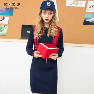 秋季女装新款针织连衣裙韩版学院风毛衣套头打底中长款裙子女