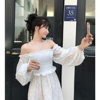 秋装新款女装 韩版长袖一字肩中长款连衣裙  白色