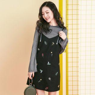 秋季新款女装韩版印花显瘦吊带连衣裙两件套长袖套装裙子女