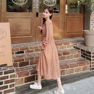 秋装新款女装2019韩版女装秋季新款印花高腰荷叶袖连衣裙