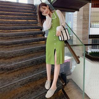 秋装新款女装新款韩版气质灯笼袖单排扣针织连衣裙