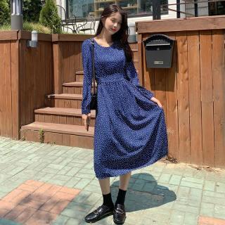 秋装新款女装2019秋装新款女装韩版系带波点圆领中长连衣裙