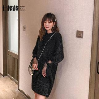 秋装新款女装连衣裙女秋装2019年新款黑色气质显瘦宽松韩版仙女针织裙子