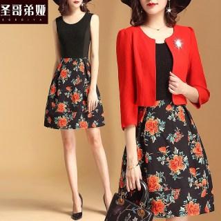 秋装新款女装2019春夏季新款女装时尚套装纯色短款外套韩版气质修身显瘦两件套