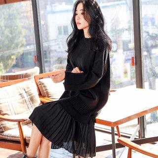秋装新款女装新款女装秋装韩版针织中长假两件连衣裙
