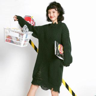 秋装新款女装秋季女装新款韩版宽松显瘦镂空毛衣裙女
