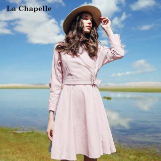 秋装新款女装秋季新款韩版气质纯色连衣裙系带风衣显瘦中长裙子