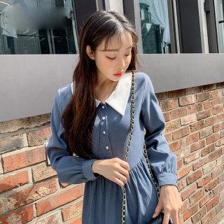 秋装新款女装2019韩版秋装新款长袖高腰宽松中长款女连衣裙