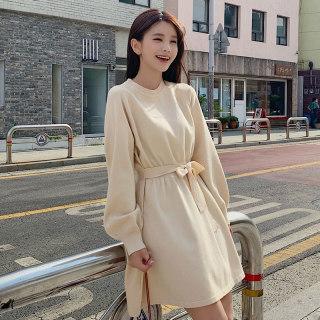 秋装新款女装2019韩版秋装新款圆领灯笼长袖高腰系带女连衣裙