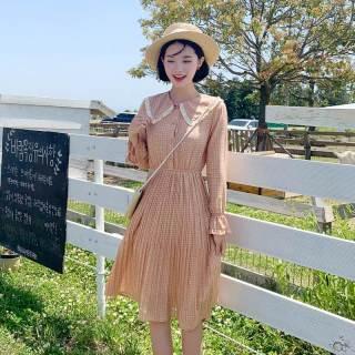 秋装新款女装2019韩版女装秋装新款气质收腰仙女裙格子连衣裙
