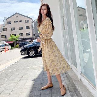 秋装新款女装2019韩版女装秋新款收腰碎花气质中长款连衣裙