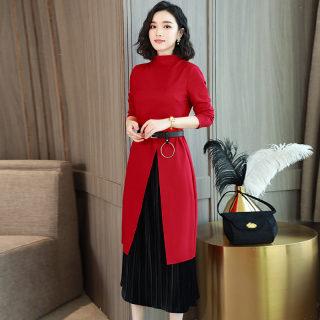 秋装新款女装红色连衣裙女中长款春秋季新款气质韩版有女人味的长袖裙子两件套
