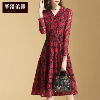 秋装新款女装夏装女2019新款女装时尚连衣裙韩版显瘦V领长袖修身中长款打底裙