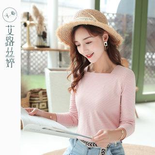 穿衣打扮新款潮流方领条纹长袖T恤女2019秋装新款韩版修身打底衫简约上衣