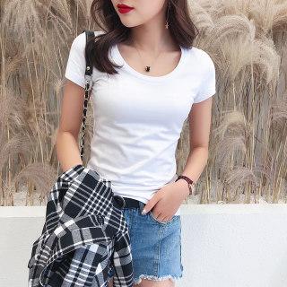 穿衣打扮新款潮流白色T恤女短袖2019新款纯色修身黑色打底衫紧身半袖体恤上衣ins潮