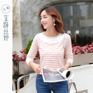 穿衣打扮新款潮流条纹长袖T恤女2019秋装新款韩版显瘦体恤蕾丝花边棉上衣