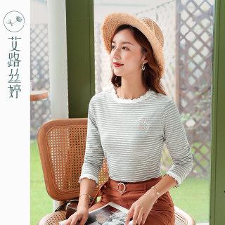 穿衣打扮新款潮流绣花条纹长袖T恤女2019秋装新款韩版修身体恤木耳边上衣