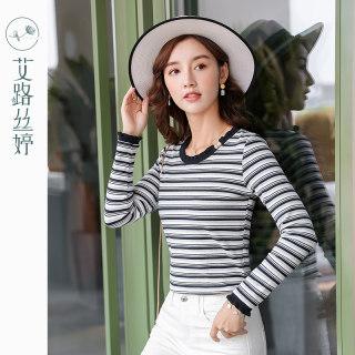 穿衣打扮新款潮流条纹针织长袖T恤女2019秋装新款韩版修身打底衫显瘦上衣