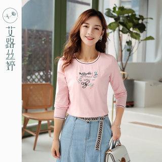 穿衣打扮新款潮流刺绣长袖T恤女2019秋装新款粉色休闲棉体恤韩版字母上衣