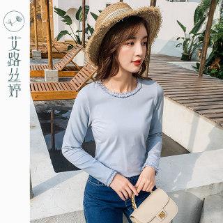 穿衣打扮新款潮流纯色长袖T恤女2019秋装新款韩版修身打底衫花边休闲上衣