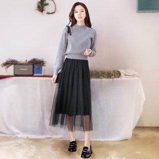 穿衣打扮新款潮流2019韩版秋装网纱两件套a字桔梗裙针织连衣裙女
