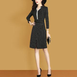 穿衣打扮新款潮流秋装新款时尚韩版条纹修身名媛气质收腰长袖下摆显瘦西服风通勤连衣裙