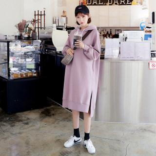 穿衣打扮新款潮流秋装新款女装韩版中长款开叉宽松连衣裙